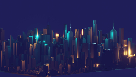 Render hologram futuristic 3d city neon light. 3d rendering. Imagens - 124864613