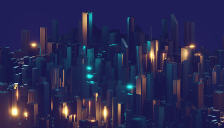 Abstract glowing digital city. Business skyscrapers. 3D Rendering. Imagens - 124864671