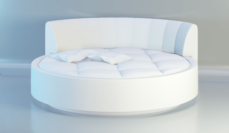 Round elegant bed with soft white pillows, front view. 3d rendering.