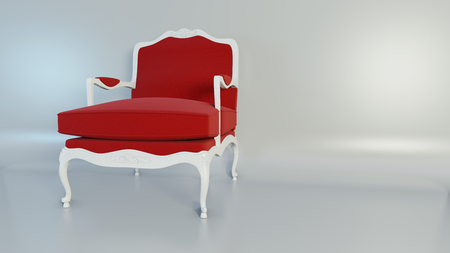Luxury classic red armchair on studio pastel tone background. 3d rendering. Imagens
