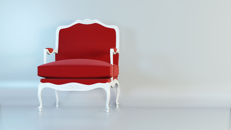 Classic red armchair on studio 3d rendering background. Imagens