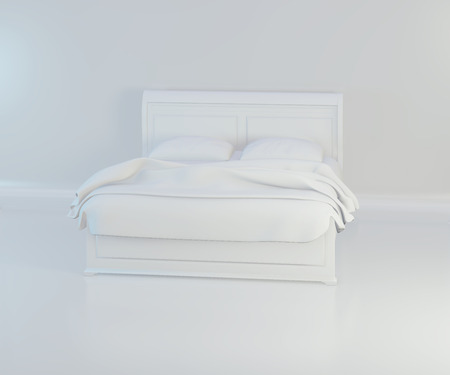 Bed with soft white pillows. 3d rendering. Imagens - 124864706