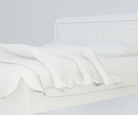Bed with soft white pillows, front view. 3d rendering. top view. Imagens
