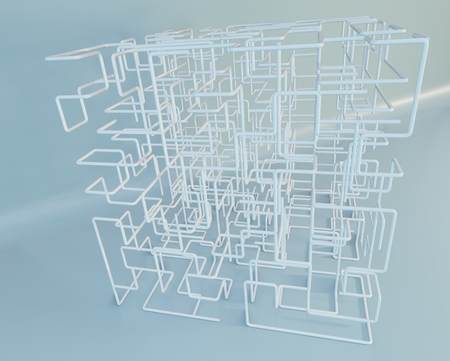 3D white Maze on a studio background. 3d rendering. Imagens - 124864725