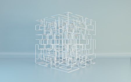 Maze boxes background. Modern technology with square mesh. Geometric abstraction lines. Cube cell. 3d rendering. Imagens - 124864729
