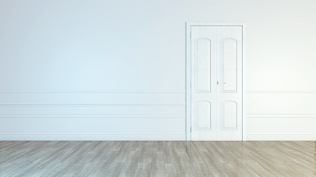 Modern white door. Grey wall with free space. Minimalist bright interior. 3d rendering.