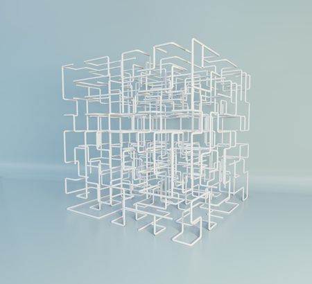 Isometric 3D cubical shape. Maze boxes background. 3d rendering.