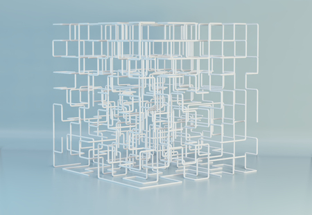 The white maze cube. Square mesh abstract lines. 3d rendering. Imagens - 124864740