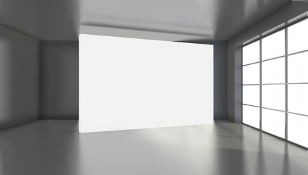 Large white billboard standing near a window in a black room. 3D rendering. Banque d'images - 129505407