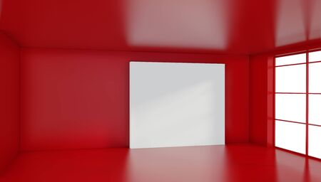 Large white billboard standing near a window in a red room. 3D rendering. Stockfoto