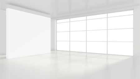 Empty white billboard in a big bright room. 3D rendering.