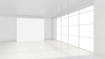 Large white billboard standing near a window in a white room. 3D rendering. Stockfoto