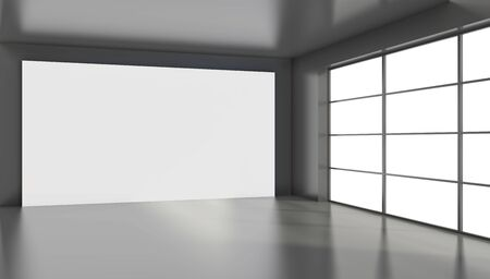 Large white billboard standing near a window in a black room. 3D rendering. Banque d'images - 129505468