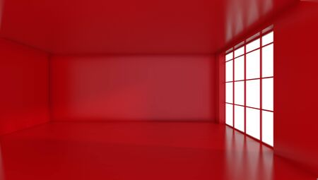 Empty red room with large stained glass windows. 3D rendering. Banque d'images - 129505477