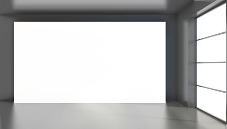 Large white billboard standing near a window in a black room. 3D rendering. Banque d'images - 129505475
