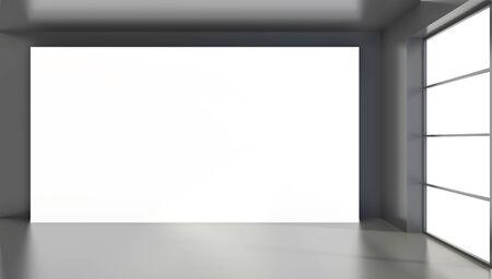 Large white billboard standing near a window in a black room. 3D rendering.