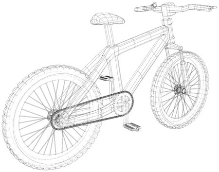 Sport road bike bicycle. Created illustration of 3d. Vector wire-frame concept. Illustration