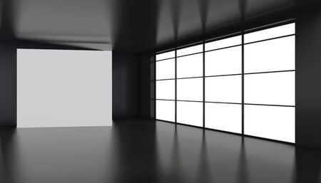 Large white billboard standing near a window in a black room. 3D rendering. Banque d'images - 129505476