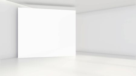 Empty white billboard in a big bright room. 3D rendering. Banque d'images - 129505512