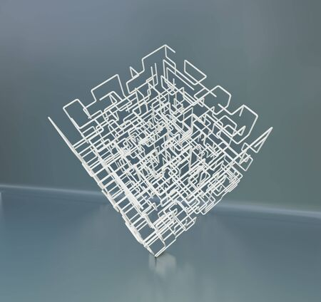 The white maze cube. Square mesh abstract lines. 3d rendering.