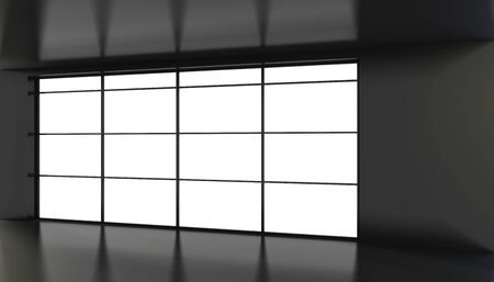 Empty black room with large stained glass windows. 3D rendering.