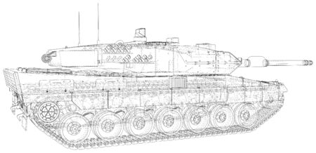 Armored tank technical wire-frame.