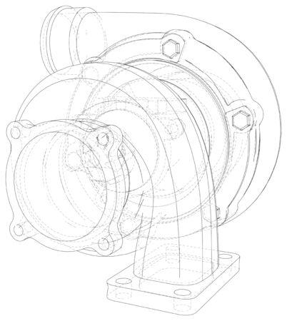Samochód turbosprężarka tło linia na białym tle. Ilustracje wektorowe