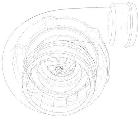 turbocharger Tracing illustration of 3d. Illustration