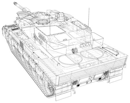 Army tank technical wire-frame.