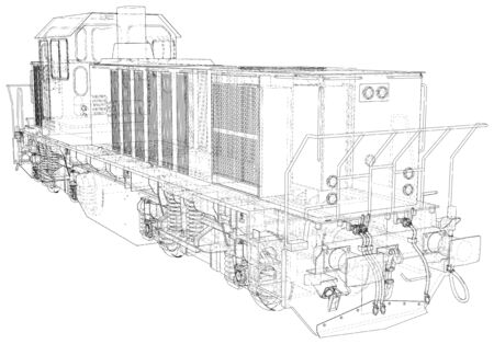 Locomotive, Train Wire-frame created of 3d.