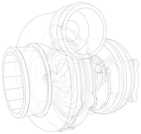 Automobile turbocharger outline illustrations.
