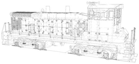 Train engines. Technical wire-frame. Ilustracja