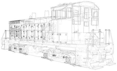 Locomotive machine technical wire-frame.