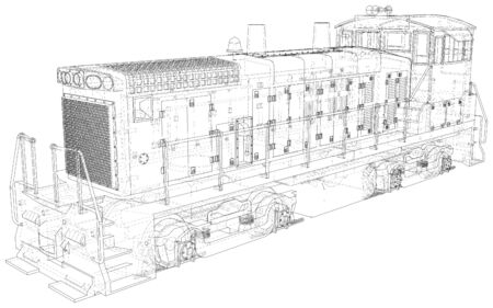 Locomotive wire-frame. Tracing illustration of 3d.
