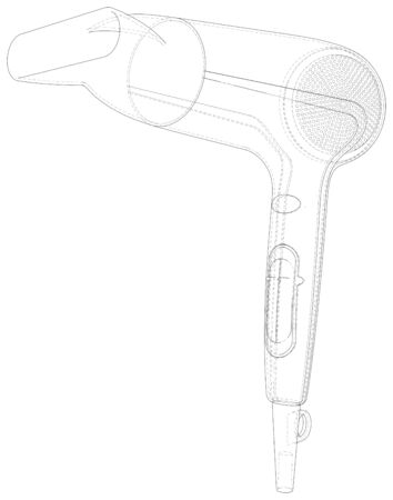 Hair dryer isolated on white. Technical wire-frame.
