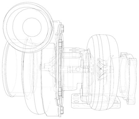 Automobile turbocharger outline vector illustrations. Vector rendering of 3d. Ilustração