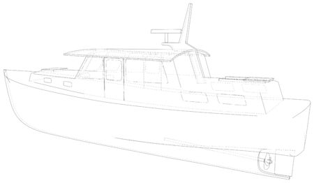 Boat. Technical wire-frame. Vector rendering of 3d. EPS10 format. Ilustrace