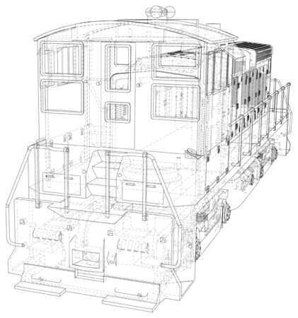 Locomotive machine technical wire-frame.