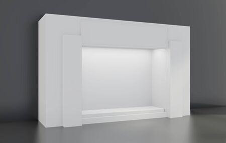 White Storefront blank showcases. Empty new shop interior, clean signboard copy space. 3d rendering. 写真素材