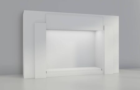 White Storefront blank showcases. The shelve in shop. 3d rendering.
