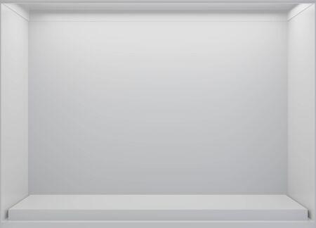 Vitrinas en blanco de White Storefront. Interior de la tienda nueva vacía, espacio de copia de letrero limpio. Representación 3D.