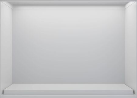 White Storefront blank showcases. Empty new shop interior, clean signboard copy space. 3d rendering.