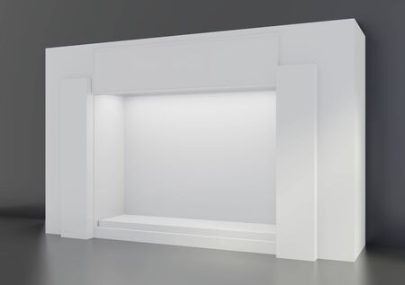 Shop window display, Empty storefront, White Showcase. 3d rendering.