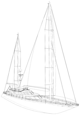 Yacht. Technical illustration wire-frame. Vector rendering of 3d. Иллюстрация