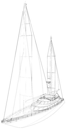 Sail yacht. Technical wire-frame. Vector rendering of 3d.  format.
