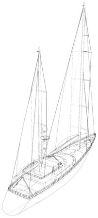 Yacht. Technical illustration wire-frame. Vector rendering of 3d. Ilustracja