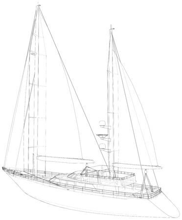 Sailing boat isolated on white. Technical wire-frame. Vector rendering of 3d.
