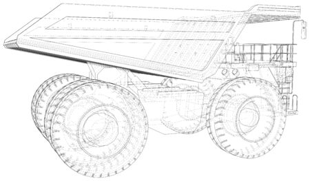 Dump truck, big transporter. The layers of visible and invisible lines are separated.  format. Wire-frame.