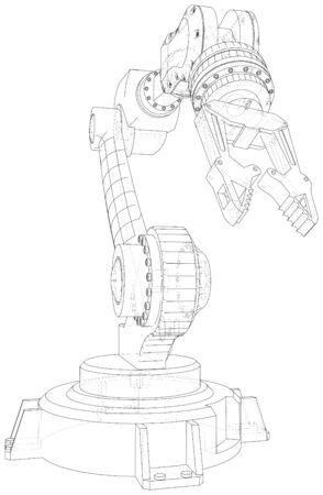 Industrial robot manipulator.  format. Wire-frame Vector created of 3d.  format. Banco de Imagens - 130056677