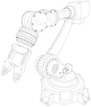 Robotic Arm  isolated on white. Technical wire-frame. Vector rendering of 3d. Banco de Imagens - 130056690